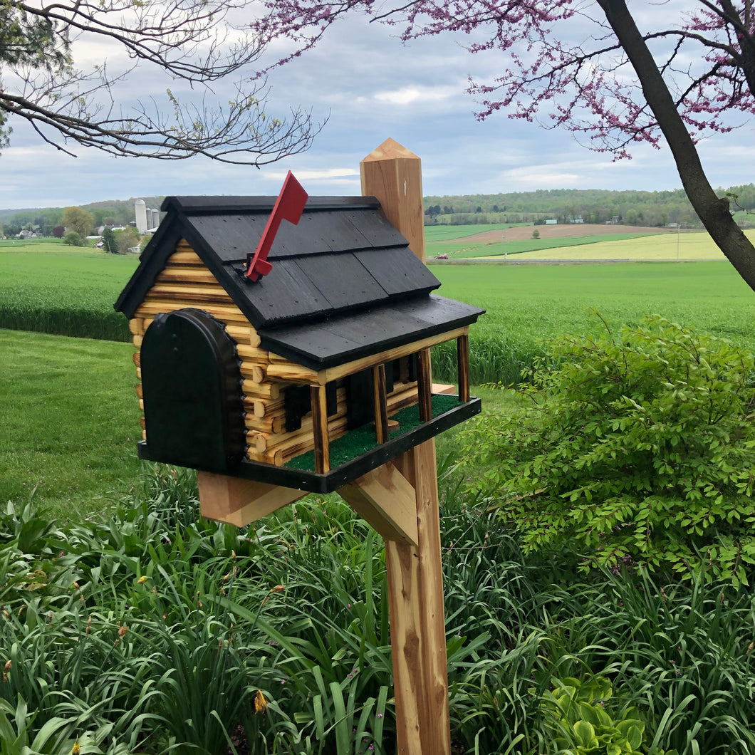 Wooden Mailbox  | Log Cabin with Porch | Amish Made | CL620