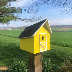 Easy to Clean Wooden Birdhouse | Rustic Amish Outdoor Decor | K0006