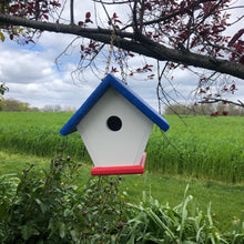 Load image into Gallery viewer, Red, White and Blue Poly Lumber Wren Birdhouse | Durable and Practical | E110