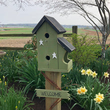 Load image into Gallery viewer, Birdhouse Welcome Sign | Green Birdhouse | Garden Décor from Reclaimed Materials | SMBHP3