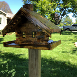 Log Cabin Bird Feeder | Yard and Garden Decor | Amish Made | LC001