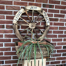 Load image into Gallery viewer, Wooden Planter with Wagon Wheel with Love, Joy, Peace Sign
