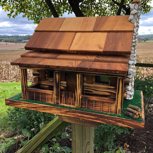 Old Log Cabin Feeder | Hand Crafted by Amish | AK002
