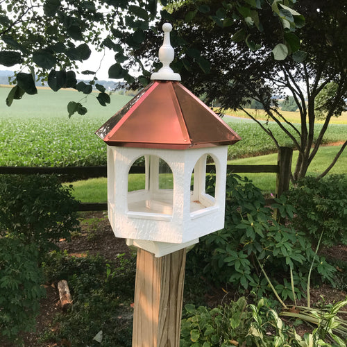 Post Mounted Bird Feeder with Copper Roof | EW-SWCF