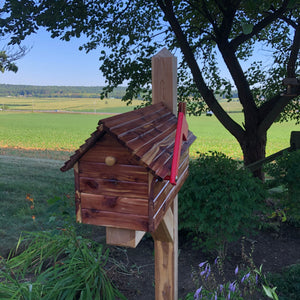 Simple and Beautiful Cedar Mailbox with Marine Coating Varnish | USPS Approved Metal Box Insert | Log Cabin | SB008