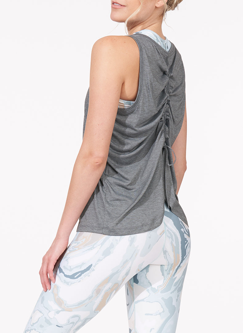 Ruched Back Tank Heather Grey Side