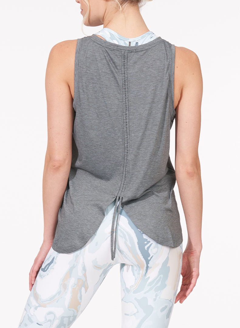 Ruched Back Tank Heather Grey Back