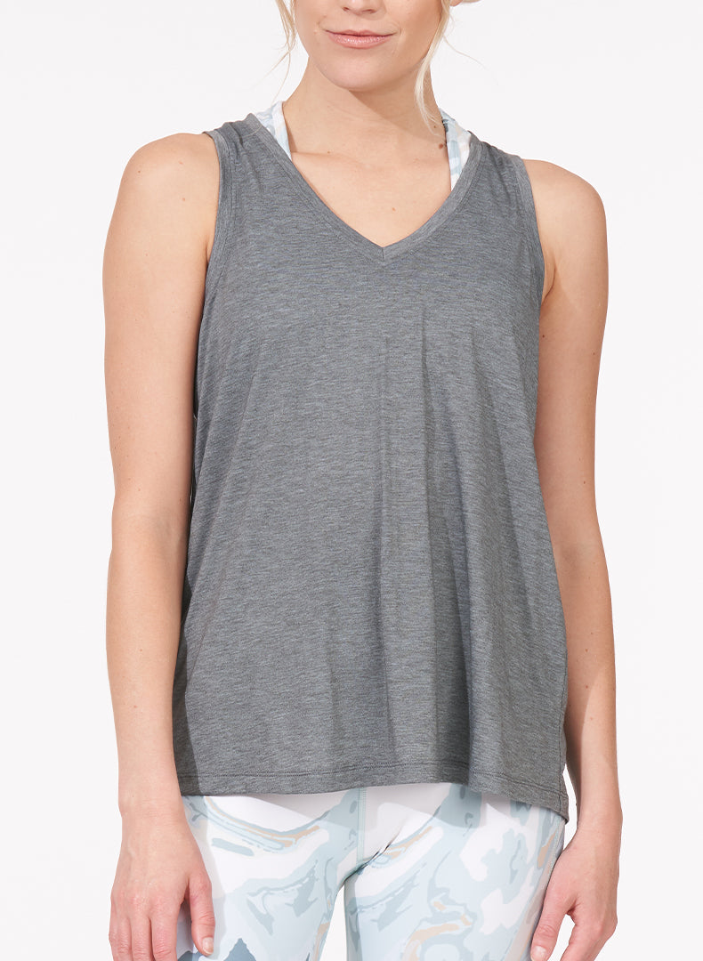 Ruched Back Tank Heather Grey Front
