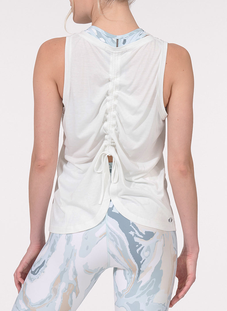 Ruched Back Tank White Back