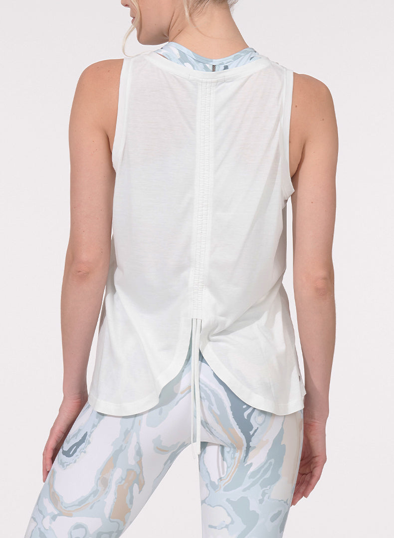 Ruched Back Tank White