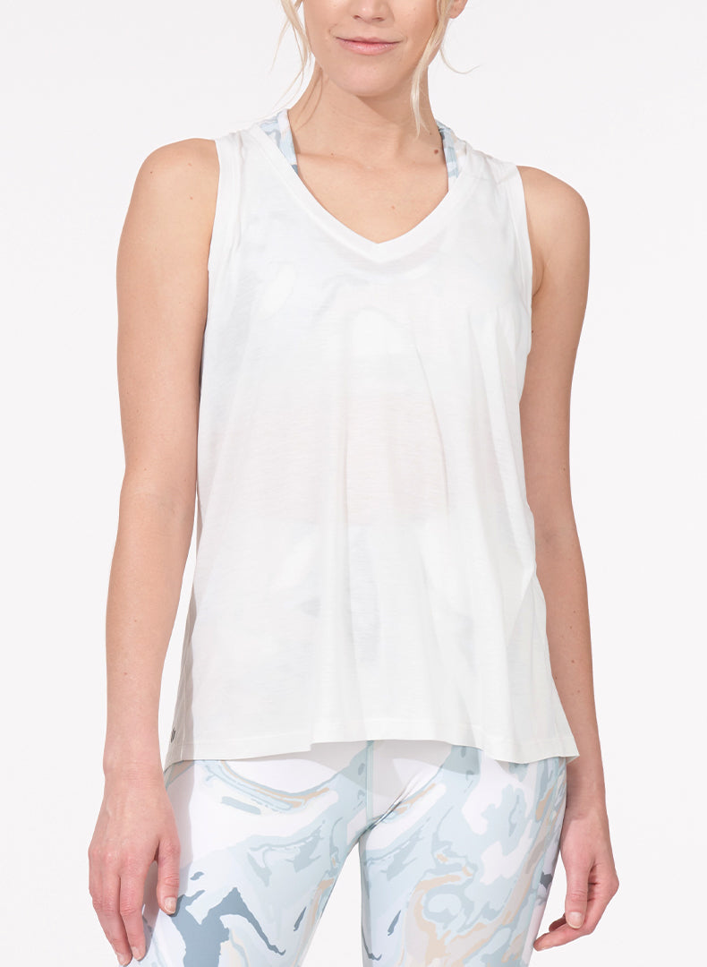 Ruched Back Tank White Front