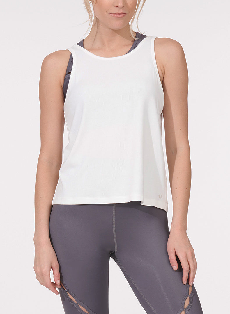Twist Back Tank White Front
