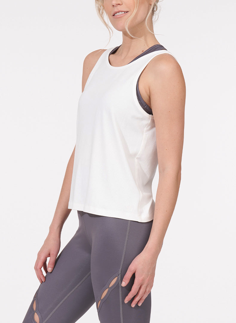 Twist Back Tank White Side