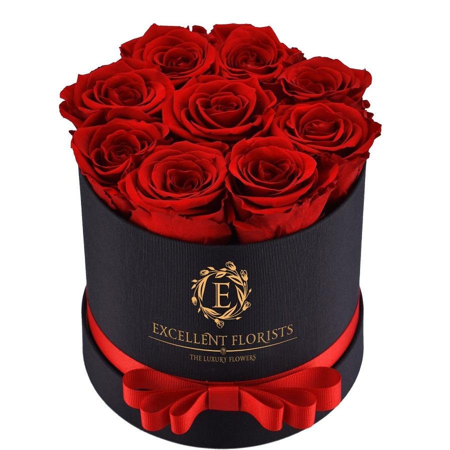 Small Round Red Preserved Roses