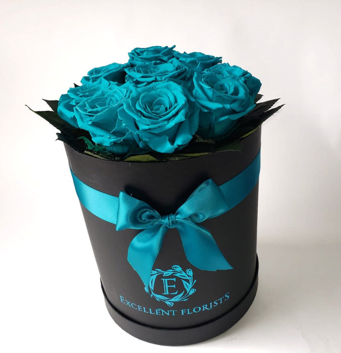 Small round Turquoise Preserved Roses 9-roses