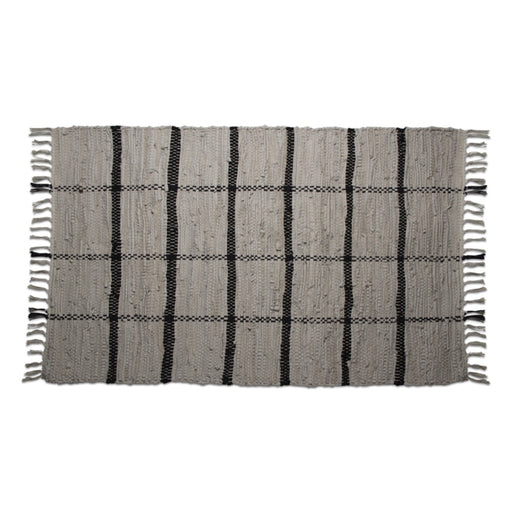 Grid Rug with Fringe
