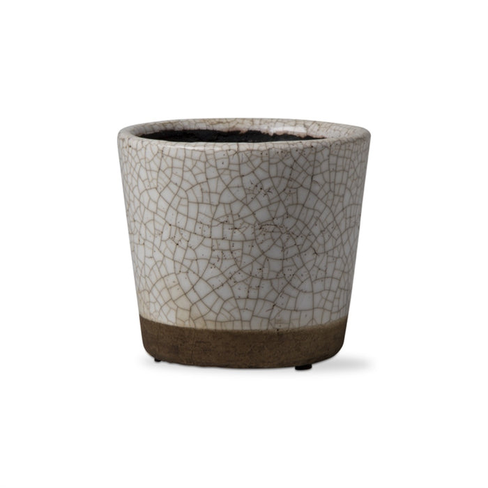 Glazed Crackle Rustic Rim Pot - Greenhouse Home