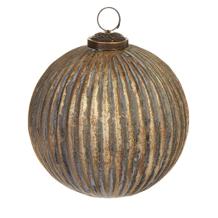 Grooved Ball Ornament - Greenhouse Home