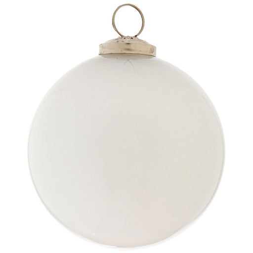 White Glitter Ball Ornament - Greenhouse Home