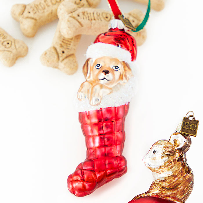 Puppy in Stocking Ornament - Greenhouse Home