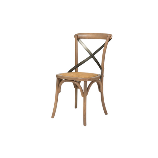 Crossback Dining Chair with Rattan Seat - Greenhouse Home