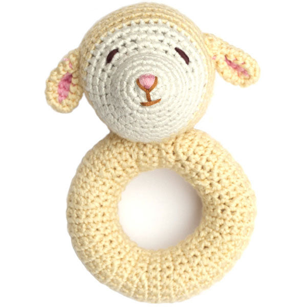 Lamb Ring Crocheted Rattle - Greenhouse Home