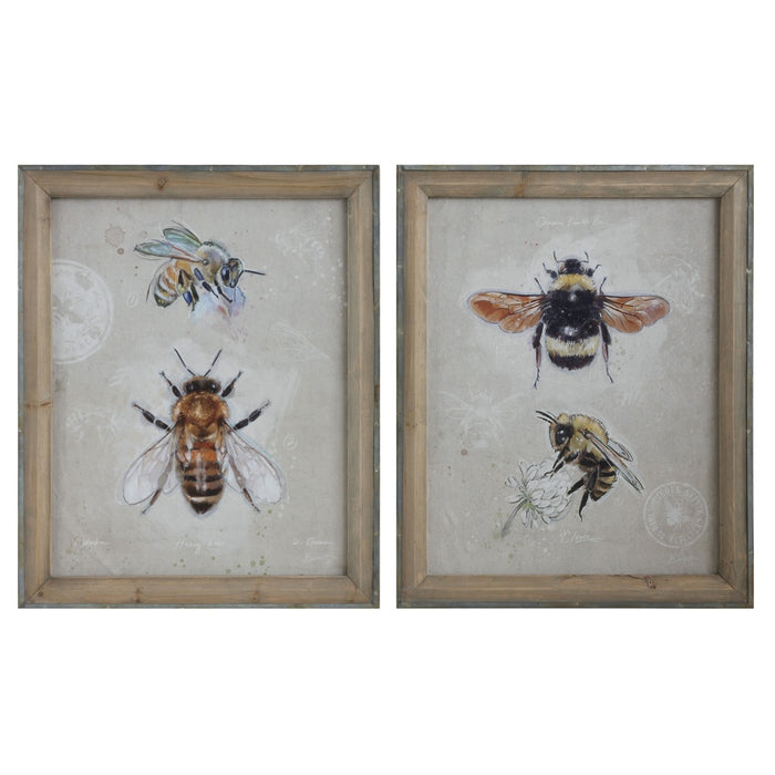 Wood Framed Bee Images Wall Art - Set of 2