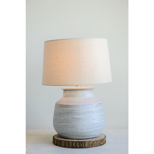 Textured Gray Ceramic Table Lamp
