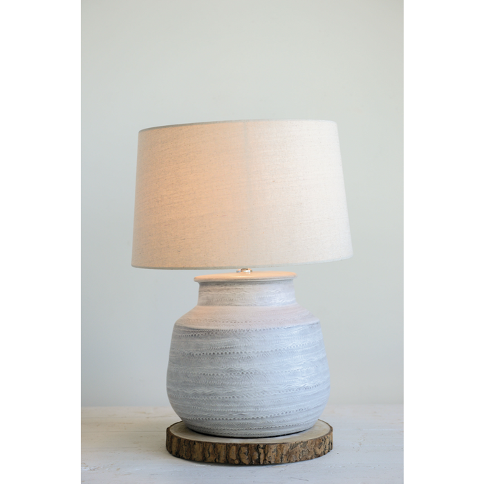 Textured Gray Ceramic Table Lamp - Greenhouse Home