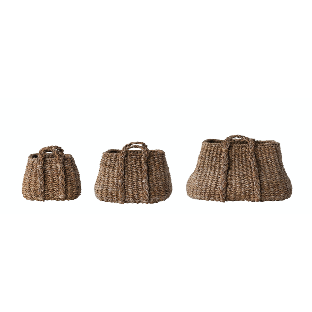 Brown Natural Seagrass Baskets - Set of 3