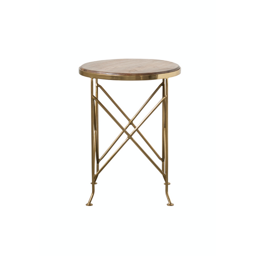 Brown Mango Wood Side Table with Gold Metal Legs - Greenhouse Home