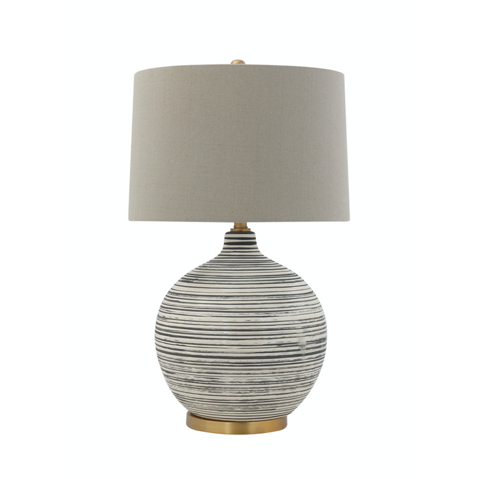 Striped Ceramic Table Lamp with Shade - Greenhouse Home