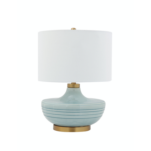 Striped Aqua Ceramic Table Lamp