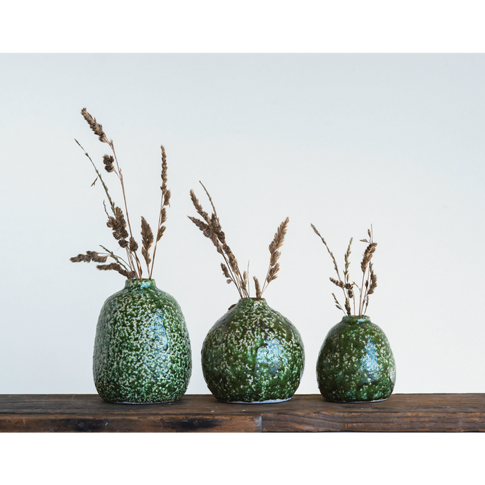 Distressed Green Terracotta Vases - Greenhouse Home