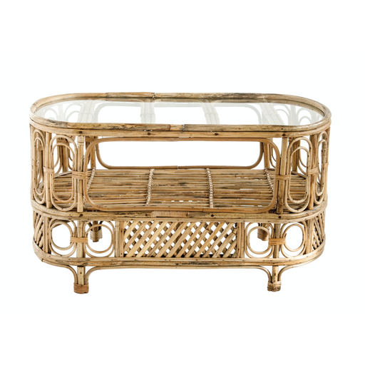 Oval Bamboo Table with Center Shelf + Glass Top - Greenhouse Home