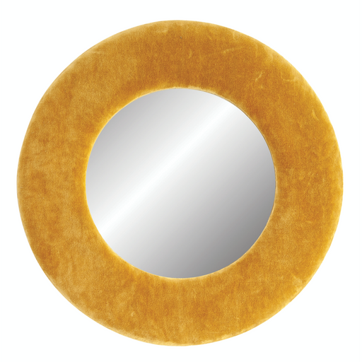Round Wall Mirror with Mustard Yellow Velvet Frame