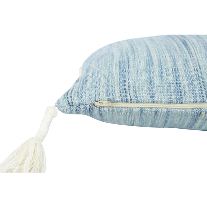 Woven Cotton Lumbar Pillow with Tassels - Greenhouse Home
