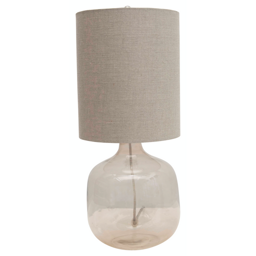 Transparent Glass Table Lamp with Cotton Shade - Greenhouse Home