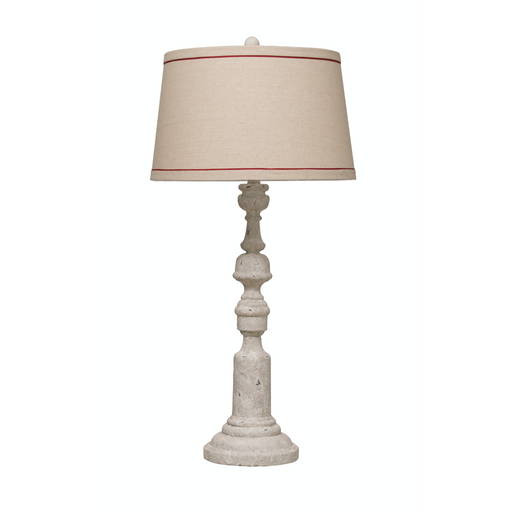 Resin Table Lamp with Distressed Antique Finish + Linen Shade