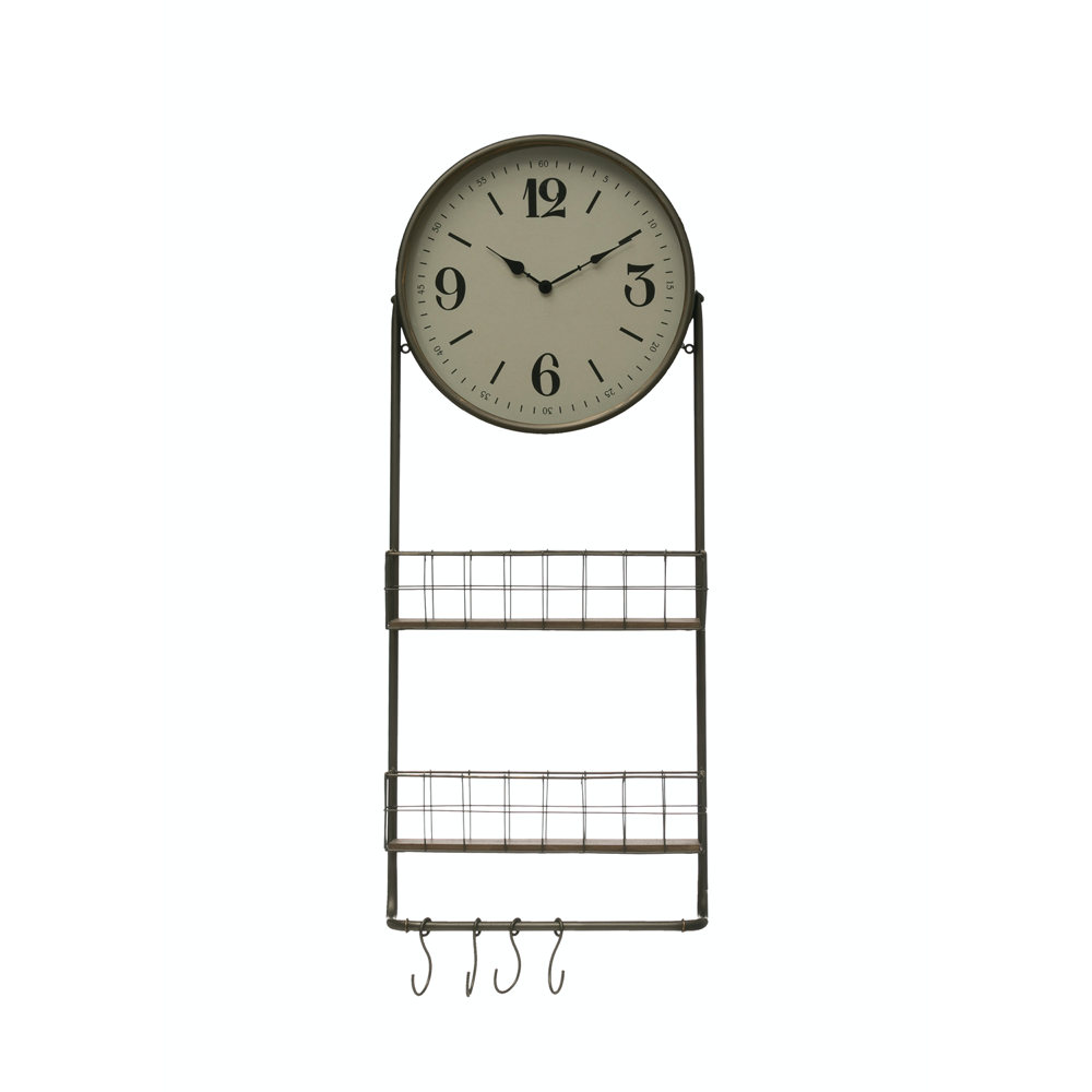 Metal + Wood Wall Clock with Storage Baskets - Greenhouse Home