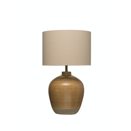 Terracotta Table Lamp with Crackle Reactive Glaze Finish