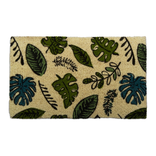 Green Foliage Natural Coir Doormat