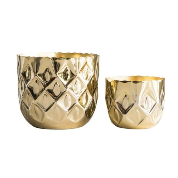 Embossed Diamond Metal Tealight Holders - Greenhouse Home