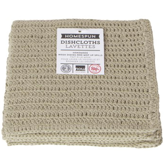 Natural Homespun Crochet Dishcloths - Set of 2