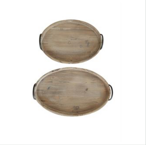 Decorative Wood Trays with Metal Handles