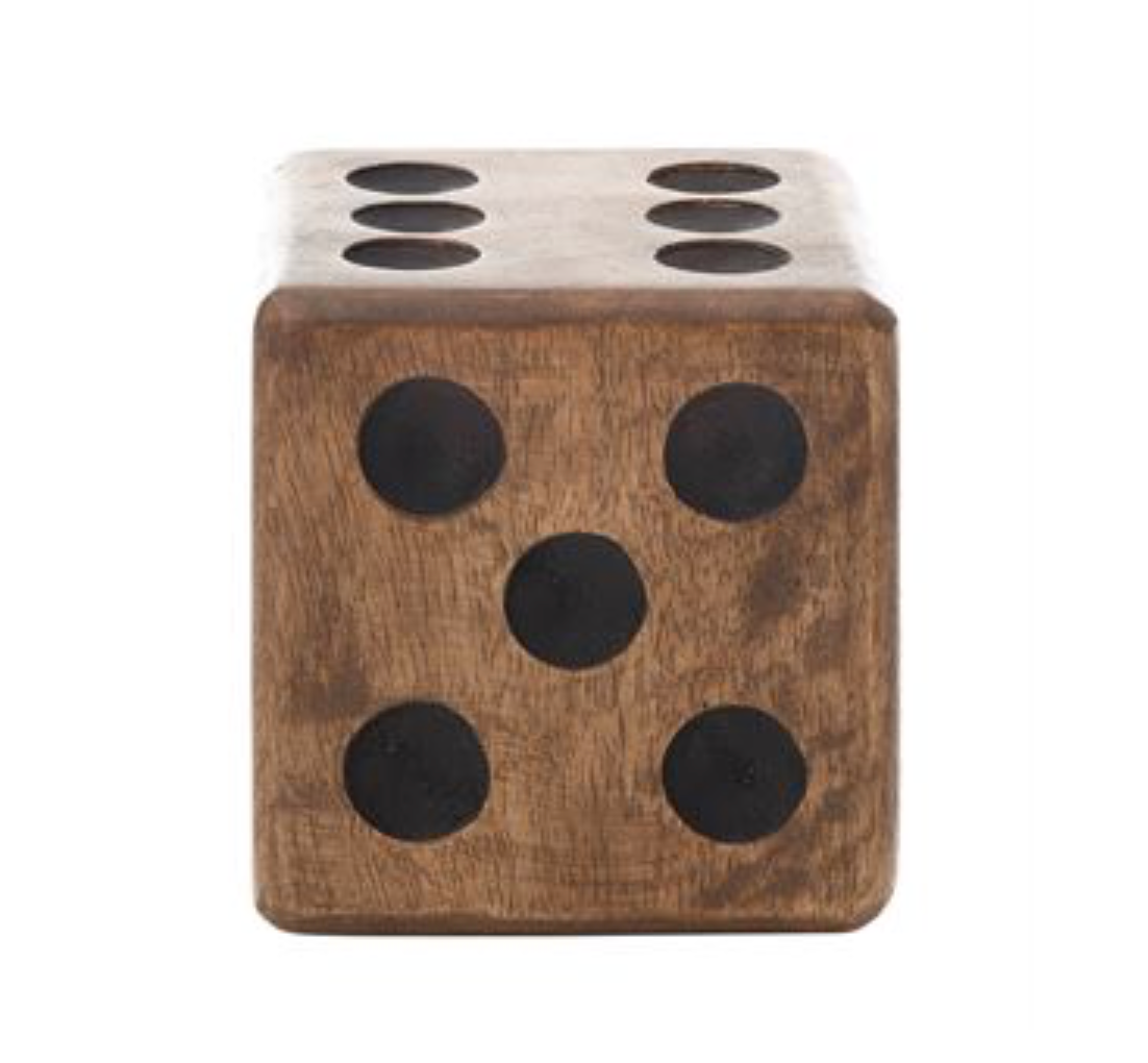 Mango Wood Hand-Carved Square Dice - Greenhouse Home