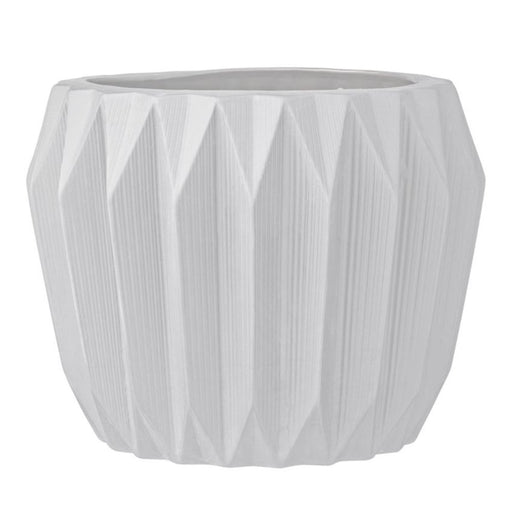 Fluted White Stoneware Planter