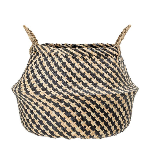 Natural Seagrass Houndstooth Basket
