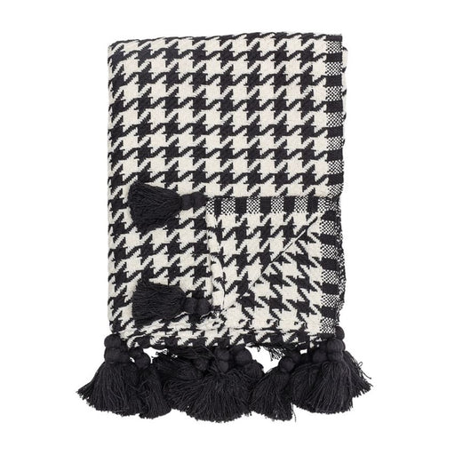 Woven Cotton Houndstooth Throw
