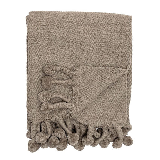Gray Woven Cotton Throw